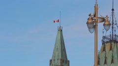 Canada Flag at Half Mast, Parliament Hill Stock Footage