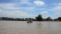Boat Transportation on Chao Phraya River at Wat Bangchak Temple Stock Footage