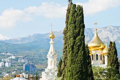 alexander nevski cathedral and yalta city houses - stock photo