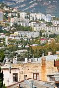 Residential district of yalta city, crimea Stock Photos