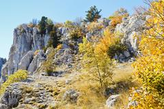 Slope ai-petri mountain in sunny autumn day Stock Photos