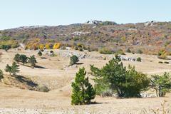 Landscape of mountain plateau ai-petri in crimea Stock Photos