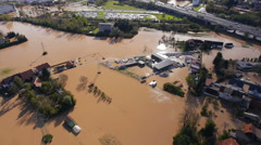 Aerial - Environmental damage by flooding. Natural disaster - stock footage