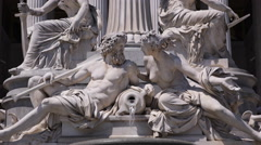Sculpture Details Closeup Austrian Parliament Vienna Pallas Athene Fountain Day Stock Footage