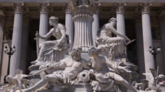 Female Statue Close up Austrian Parliament Vienna Sightseeing Water Fountain Day Stock Footage
