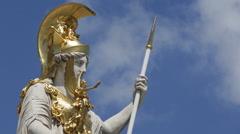 Close up Austrian Parliament Vienna Golden Sculpture Iconic Gold Statue Landmark Stock Footage