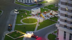 Top view of parking and playground of residential complex Stock Footage