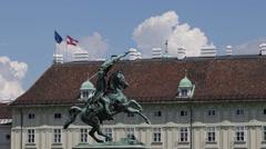 Heroes Square Karl Archduke Charles Austria Vienna Landmark Equestrian Sculpture Stock Footage