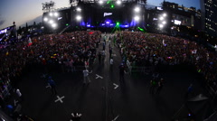 Large Crowd at Electronic Music Festival Tokyo Japan Stock Footage