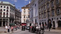 Vienna Busy Streets Pebble Pavement Fiacres Passing Old Fashioned Transport Day Stock Footage