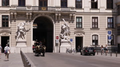 Vienna Busy Old Town Streets Hofburg Imperial Palace Fiacres Passing People Walk Stock Footage