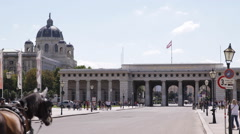 Vienna Hofburg Imperial Palace Heroes Square Street People Walk Tourists Visit Stock Footage