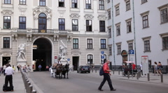 Establishing Shot Hofburg Imperial Palace Historic Old Town Vienna Horse Fiacre Stock Footage
