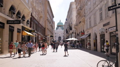Vienna Kohlmarkt Crowded Shopping Street Busy Shopper Market Square People Crowd Stock Footage