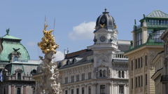 Pestsaule Plague Column Graben Vienna Palais Equitable Mansion Generali Building Stock Footage