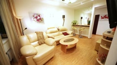 Interior of room in modern flat with cozy sofa and armchair. Stock Footage