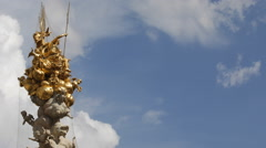 Pestsaule Plague Column Graben Vienna Golden Sculpture Angel Figure Gold Statues Stock Footage