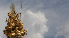 Closeup Pestsaule Plague Column Graben Vienna Golden Sculpture Gold Statues Day Stock Footage