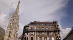 Establishing Shot Residential House Apartments Homes Vienna St Stephen Cathedral Stock Footage