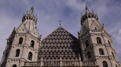 Front Facade Vienna Religious Building Stephen Cathedral Stephansdom Church Day Stock Footage