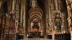 Interior View Famous St Stephen Cathedral Vienna Austria Beautiful Indoor Church Stock Footage