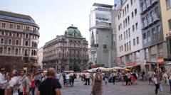 Vienna Establishing Shot Haas Haus Stephen Square Stephansplatz People Walking Stock Footage
