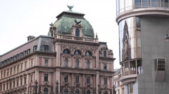Vienna Architecture Equitable Palace Haas Haus Stephen Square Stephansplatz Day Stock Footage