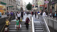 Vienna Karntner Street Subway Entrance Metro Station Stephen Square People Walk Stock Footage