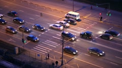 Section of road with pedestrian crossing, cars go on green light. Stock Footage