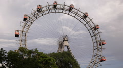Stock Video Footage of Most Popular Tourist Attraction Vienna Austria Riesenrad Ferris Wheel Prater Day