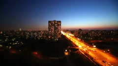 Many cars on highway in evening time, view from above. Stock Footage