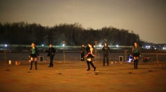 Participants of fire show rehearse future performance. Stock Footage