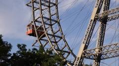 Excitement Fair Wien Giant Ferris Wheel Funfair Tourist Attraction Vienna Prater Stock Footage