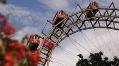 Old Traditional Cabins Rotate Big Carnival Summer Festivals Vienna Prater Park Stock Footage