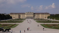 Aerial View Beautiful Schonbrunn Palace Gardens Vienna Touristic Fiacre Passing Stock Footage