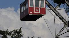 Vienna Famous Landmarks Prater Amusement Park Ferris Wheel Close Up Details Zoom Stock Footage