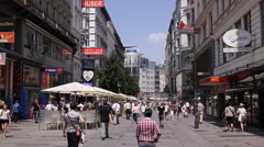 Karntner Shopping Street Vienna Crowded Pedestrians People Stores Shops Magazine Stock Footage