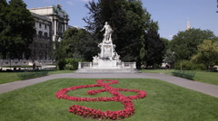 Sol So G Fifth Note Key Beautiful Form Flowers Vienna Burggarten Mozart Monument Stock Footage