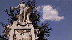 Beautiful Memorial Mozart Monument Statue Burggarten Vienna Central Park Austria Stock Footage