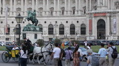 Vienna Heroes Square People Walking Tourists Visit Horse Carriage Fiacre Passing Stock Footage