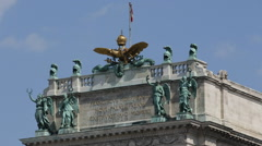 Ethnology Anthropological Museum Roof Sculpture Vienna Sunny Day Austrian Flag Stock Footage