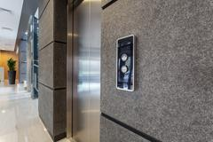 elevator in business centre - stock photo