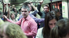 People standing in metro and traveling, steadycam shot Stock Footage