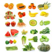 fruits  vegetables. with beta carotene. - stock photo