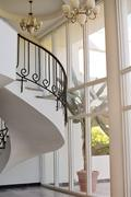 Stock Photo of beautiful white hall with stairs of hotel