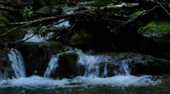 Falls of creek in dark forest Stock Footage