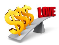 Stock Illustration of money outweighs love