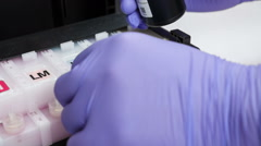 Injecting ink cartridge. Set of refill for print Stock Footage