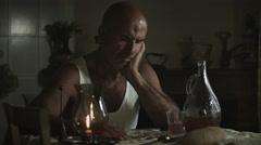 Desperate man sitting alone: sadness, thoughtful, pensive, sad Stock Footage