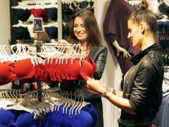 Female friends shopping in the boutique with underwear, steadycam shot - stock footage